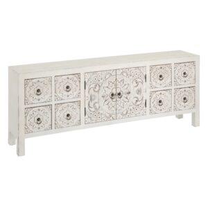 Mueble 8 cajones blanco rozado oriental
