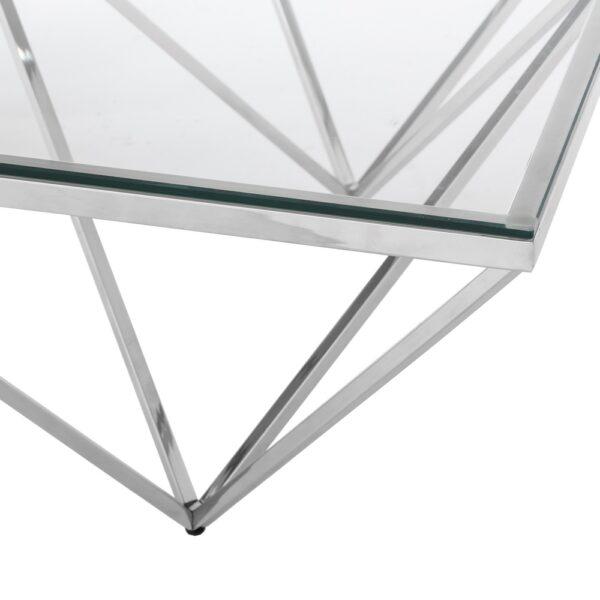 Mesa de centro cristal plata