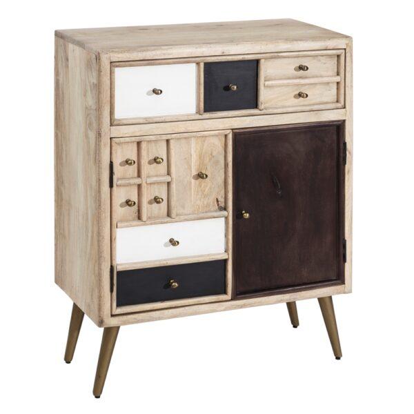 Mueble auxiliar natural madera cajones color