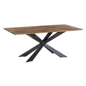 Mesa comedor marrón, negro hierro