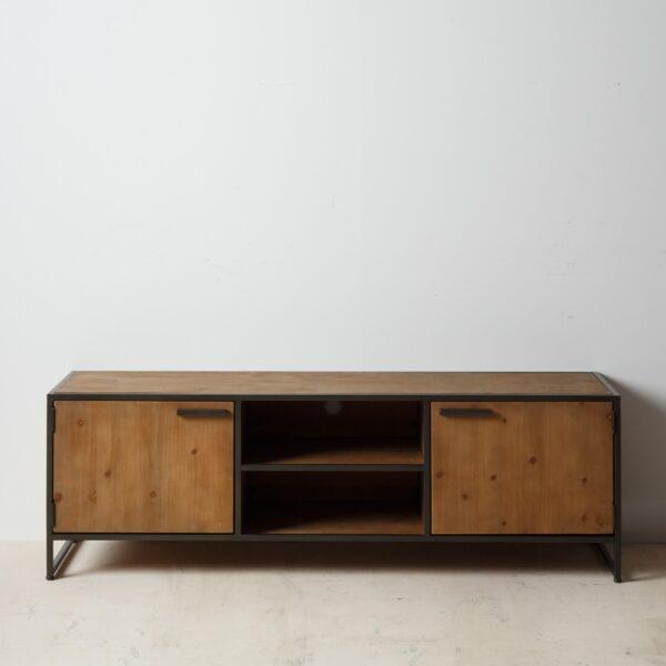 Mueble TV marrón negro madera metal industrial