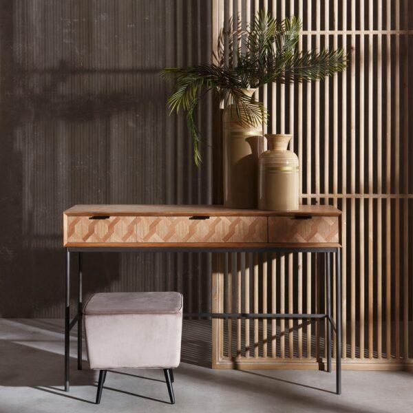 Consola natural madera metal