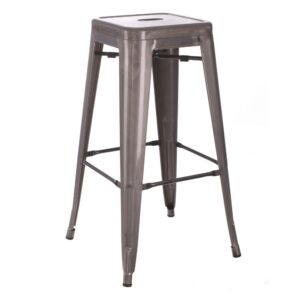 Taburete plata metal Dallas Industrial