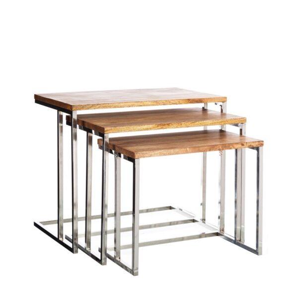 Set de 3 mesas madera acero inoxidable